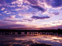 Sky background and water reflection Royalty Free Stock Photos