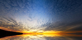 Sky background and water reflection. Stock Photos