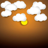 Sky background- white paper clouds & evening sky with sun Stock Photography