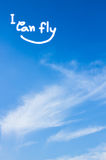 Sky. Background write I can fly royalty free stock photos