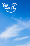 Sky. Background write You can fly stock photo