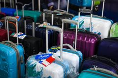 Sky bags for sale shopping mall closeup shot royalty free stock photo