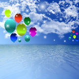 Sky Balloon background. Balloon Celebration Group Event Festival Colour Fun Party Gely Birthday stock illustration