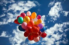 Sky balloons. Clouds color day Royalty Free Stock Photo