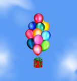 Sky and balloons gift Royalty Free Stock Image