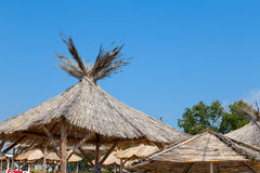 Sky beach parasol Royalty Free Stock Images