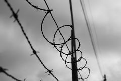 The sky behind barbwire. Black and white. Stock Photography