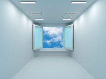 Sky  behind the open door Royalty Free Stock Photography