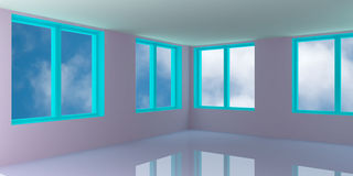 Sky  behind the open  window Royalty Free Stock Photos
