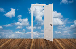 Sky behind the opening door Royalty Free Stock Photos
