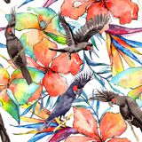 Sky bird black macaw pattern in a wildlife by watercolor style. Stock Photo