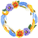 Sky bird parrot wreath in a wildlife by watercolor style. Stock Photography