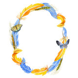 Sky bird parrot wreath in a wildlife by watercolor style. Royalty Free Stock Photos