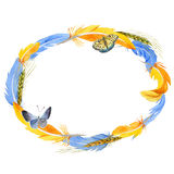 Sky bird parrot wreath in a wildlife by watercolor style. Stock Images