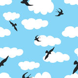 Sky with birds and clouds vector illustration