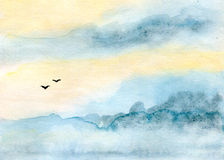 Sky and birds. Skyscape and clouds, silhouettes of birds, abstract background, watercolor illustration and paper texture Royalty Free Stock Photography