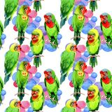Sky birds small parrots pattern in a wildlife by watercolor style. Wild freedom, bird with a flying wings. Aquarelle bird for background, texture, pattern Royalty Free Stock Image