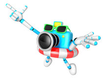 Sky Biue Camera Character jumping in rubber ring. Create 3D Came Stock Photo