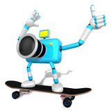 Sky Biue Camera Character skateboarding riding. Create 3D Camera Stock Images