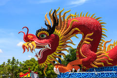 Sky blue beautiful and gold dragon. Stock Photography
