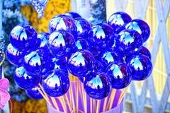 Sky-blue, bright and shiny decorative beads Stock Photos