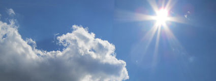 Sky. Blue bright sky with sunshine during the last days of summer royalty free stock photos