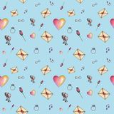Sky-blue cartoon valentine pattern about love. Cute cartoon valentine pattern with different elements about love including love letters, roses, glasses, notes on Royalty Free Stock Photos