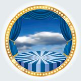 Sky blue circle stage. Blue circle circus stage with cloudy sky vector illustration