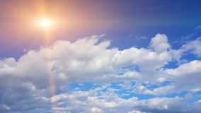 Sky blue clouds white like cotton spring time Royalty Free Stock Photo