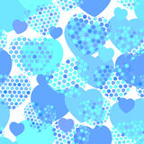 Sky blue heart with polka dot heart seamless pattern on white background. Vector Royalty Free Stock Photo