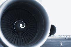 Sky-blue jet-engine Royalty Free Stock Photography