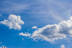 Sky. Blue sky with legmi, white clouds on a sunny day stock photo