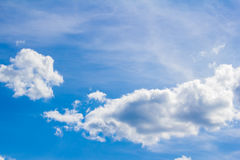 Sky. Blue sky with legmi, white clouds on a sunny day Royalty Free Stock Photo