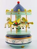 Sky blue merry-go-round horse carillon. Wooden carouse Royalty Free Stock Photos