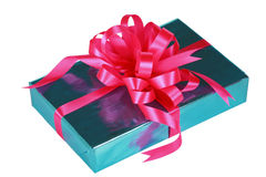 Sky blue present with pink bow Royalty Free Stock Images
