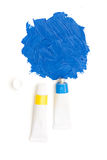 Sky blue squeezed artistic's paint tube Royalty Free Stock Photography