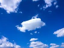 Sky Blue And Sun. Cumulus Clouds. Blue Sky Background Stock Image