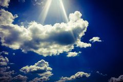 Sky Blue And Sun. Cumulus Clouds. Blue Sky Background Stock Photos