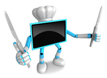 Sky Blue TV Character Chef in both hands to hold a Knife. Go on Royalty Free Stock Photography