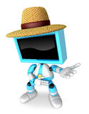 Sky Blue TV farmer character are kindly guidance. Create 3D Tele Royalty Free Stock Photography