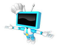 Sky Blue TV robot flying towards the sky. Create 3D Television R Royalty Free Stock Photos
