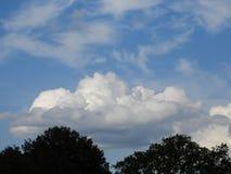 Sky blue white clouds day. Sunny light Stock Photos