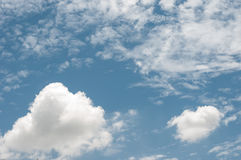 Sky blue white clouds electric wire Royalty Free Stock Images