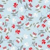 Sky Blue winter folk florals seamless pattern vector illustration