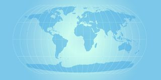 Sky blue world map. World map with retro feel in powder blue Royalty Free Stock Images