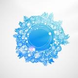 Sky blue Xmas wreath Royalty Free Stock Images