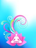 Sky-blue yoga background. Sky blue yoga background with lotus and splash pattern Stock Images