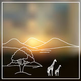 Sky blurred defocused landscape background with african savanna Royalty Free Stock Photography