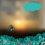 Sky blurred defocused landscape background with cloud, precipitation, butterfly and flowers Stock Photos