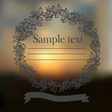Sky blurred defocused landscape background with text and floral frame Royalty Free Stock Photo